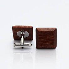 Šperky - Drevené manžetové gombíky ELEGANCE - mahagon - 9502892_