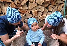 Detské čiapky - Detská celoročná merino čiapka modrý šmolko - 9500767_