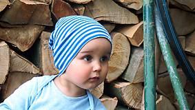 Detské čiapky - Detská celoročná merino čiapka modrý šmolko - 9500769_