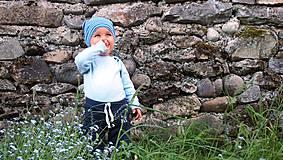 Detské čiapky - Detská celoročná merino čiapka modrý šmolko - 9500771_