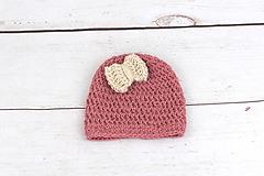 Detské čiapky - Červeno-béžová čiapka ALPACA - 9500895_