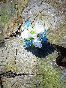 Prstene - Modro - biely prstienok - 9503057_
