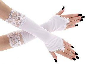Rukavice - Rukavičky pre nevestu biele s čipkou 1320 - 9502511_