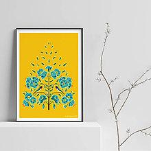 Grafika - Vtáčik na ľanovom kvete - Art Print - 9500607_