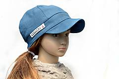 Detské čiapky - Letná šiltovka s menom 100% ľan-petrolejová - 9502979_