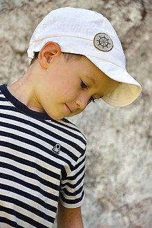 Detské čiapky - Šiltovka Kormidlo 100% ľan natur biela - 9499240_