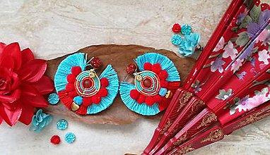 Náušnice - Flamenco modro cervene nausnicky - 9502816_