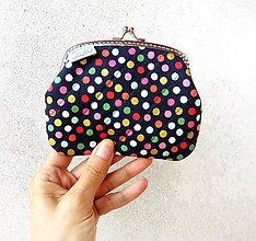 Peňaženky - Peňaženka XL Bodky (hexagóny) na modrej - 9501498_