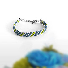 Náramky - Šťastie - náramok priateľstva (Zelená/modrá) - 9500280_
