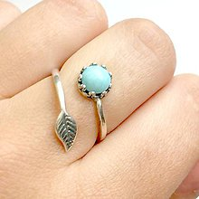 Prstene - Simple Leaf Silver Gemstone Ring Ag925 / Strieborný prsteň s minerálom #0436 (Vintage Larimar (patinovaný)) - 9503636_