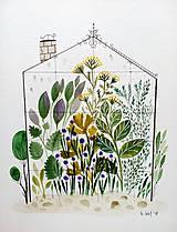 Obrazy - Bylinkovy skleník  Ilustrácia / originál maľba - 9503462_