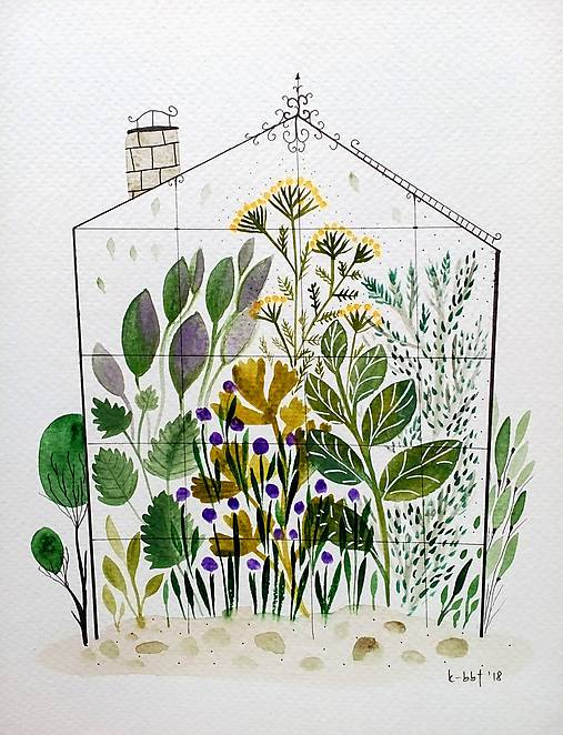 Bylinkovy skleník  Ilustrácia / originál maľba