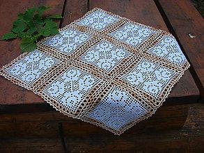 """Úžitkový textil - háčkovaný štvorec """"béžové ombre"""" - 9505826_"""