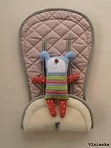 MERINO podložka do kočíka BUGABOO Bee / Buffalo/ Cameleon/ Donkey/ Joolz 100% WOOL Seat Liner Dusty pink and Grey staroružová