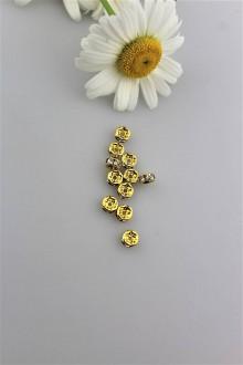 Komponenty - korálky zlaté 6mm - štras rondelky - 9503896_