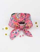 Šatky - Elegantná ružová kvetinová šatka s náušnicami