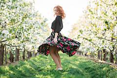 Sukne - MARÍNA - kruhová kvetinová sukňa - 9504109_