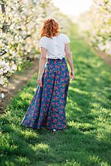 Sukne - MARÍNA - kvetinová maxi sukňa - 9504151_