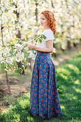Sukne - MARÍNA - kvetinová maxi sukňa - 9504152_