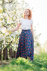 Sukne - MARÍNA - kvetinová maxi sukňa - 9504153_