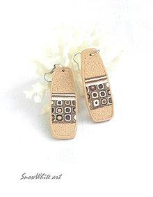 Náušnice - Béžové klimtovky (tvar 1) - 9503580_