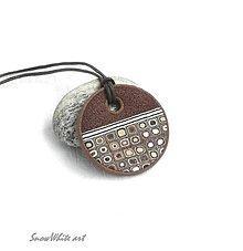 Náhrdelníky - Klimtový hnedáčik (kruhový) - 9504474_