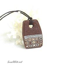 Náhrdelníky - Klimtový hnedáčik (obdĺžnikový) - 9505685_