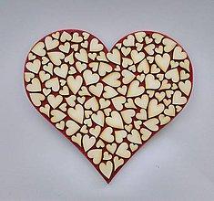Tabuľky - Drevené srdce (srdiečko na červenom podklade) - 9504900_