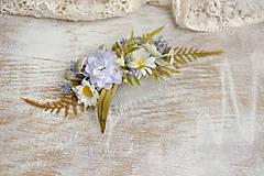 Ozdoby do vlasov - Kvetinový hrebienok ,,belasý,, - 9503846_