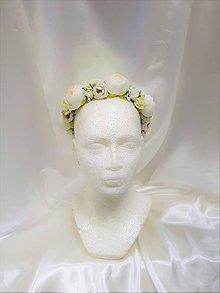 Ozdoby do vlasov - Biely svadobný venček - 9504351_
