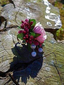 Prstene - Ružovo - bordový prsteň s perličkami - 9504759_