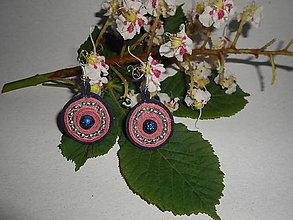 Náušnice - Velúrovky - Kvitnúce gaštany (Modrá) - 9506295_