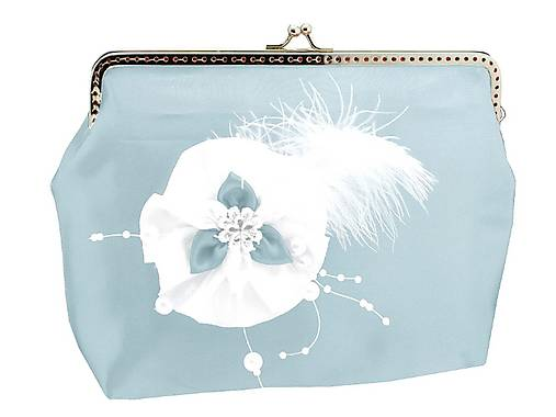 62b61e49ea Saténová spoločenská kabelka modro biela 11851A   svadba-nevesta ...