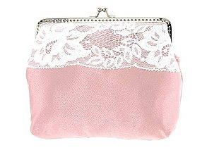 Taštičky - Dámská čipková kabelka bielo růžová 11L (Červená) - 9506527_