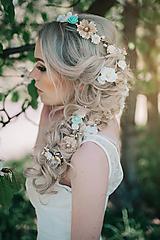 Ozdoby do vlasov - Sada vláseniek - mentolová, zlatá, biela - 9503236_