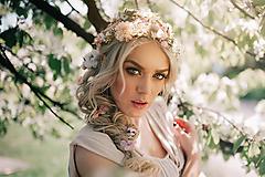 Ozdoby do vlasov - Svadobný set - ružová, zlatá, biela - 9503276_