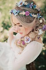 Fialový svadobný set - pletenec, vlásenky, sponka a hrebienok