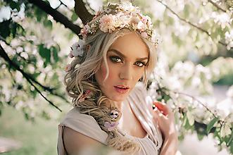 Ozdoby do vlasov - Romantický ružový kvetinový pletenec - 9503260_