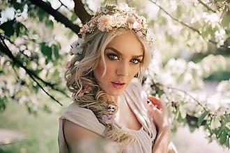 Ozdoby do vlasov - Sada hrebienok a sponka - ružová, béžová, zlatá, biela - 9503282_