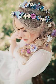 Ozdoby do vlasov - Fialový svadobný set - pletenec, vlásenky, sponka a hrebienok - 9503291_