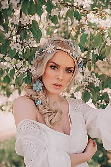 Ozdoby do vlasov - Modrý svadobný set - pletenec, vlásenky, sponka a hrebienok - 9505922_
