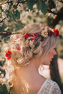 Ozdoby do vlasov - Červeno zlatý set - venček, sponky, vlásenky, hrebienok - 9506161_