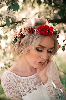 Ozdoby do vlasov - Červeno zlatý kvetinový venček - 9506254_
