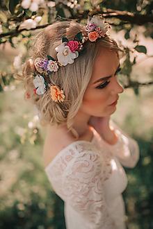 Ozdoby do vlasov - Nežný kvetinový set - venček, hrebienok a sponky - 9506322_