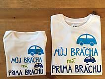 """Detské oblečenie - Maľované tričko/ body s nápisom """"Můj brácha má prima bráchu"""" - 9504347_"""