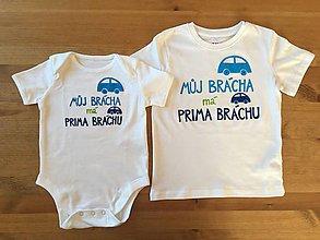 """Detské oblečenie - Maľované tričko/ body s nápisom """"Můj brácha má prima bráchu"""" (Tričko + body) - 9505654_"""