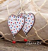 Náušnice - Heart dots // red/blue - 9506305_