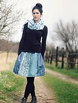 Sukne - Lněná s tiskem - Modromodrá - 9505190_
