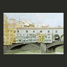 Obrazy - Ponte Vecchio - originál, akvarel - 9504194_