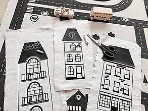 Hračky - Set 3 domčekov s tabuľovou strechou - súprava na šitie pre kreatívne ručicky - 9507099_